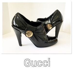 Gucci Crest Gold Medallion Ankle Boots